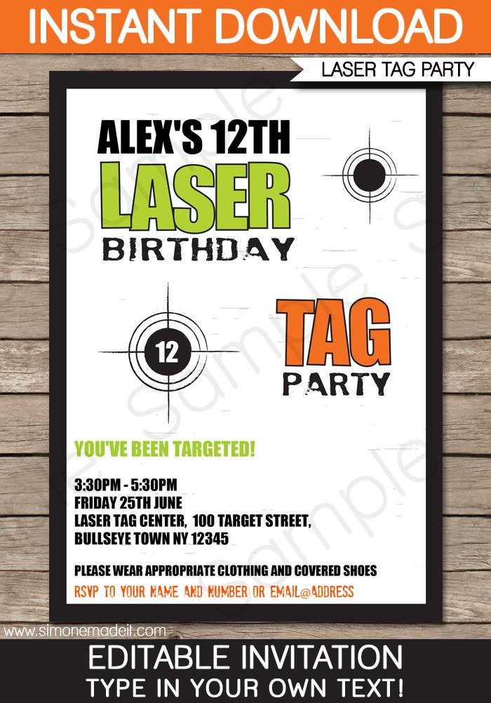 tag birthday ; Printable-Laser-Tag-Party-Invitation-Template-green-orange