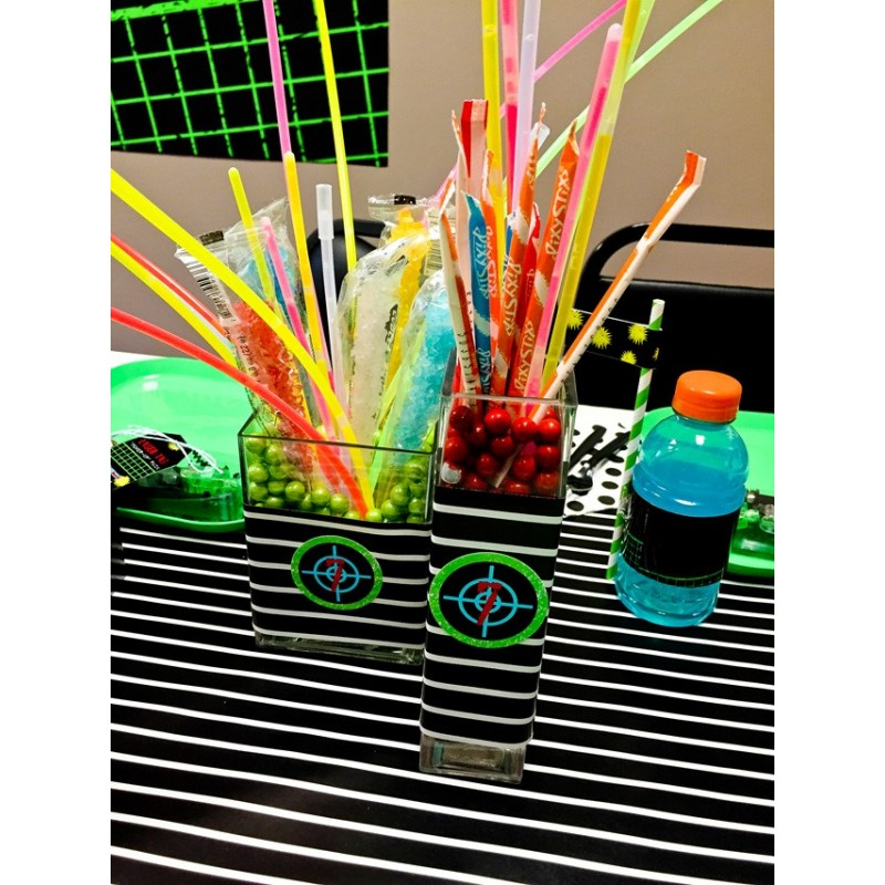 tag birthday party ; laser-tag-party-candy-jars-640x853-800x800