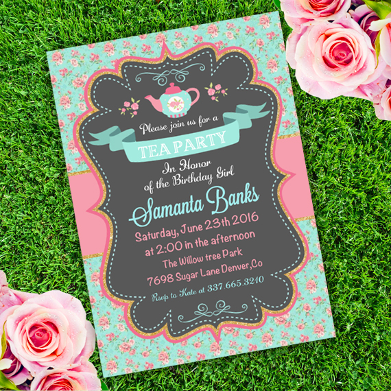 tea party birthday invitation template ; CARD_010_Birthday_Tea_Party