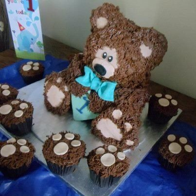teddy bear birthday cake template ; teddy-Bear-Cake-and-Cupcakes