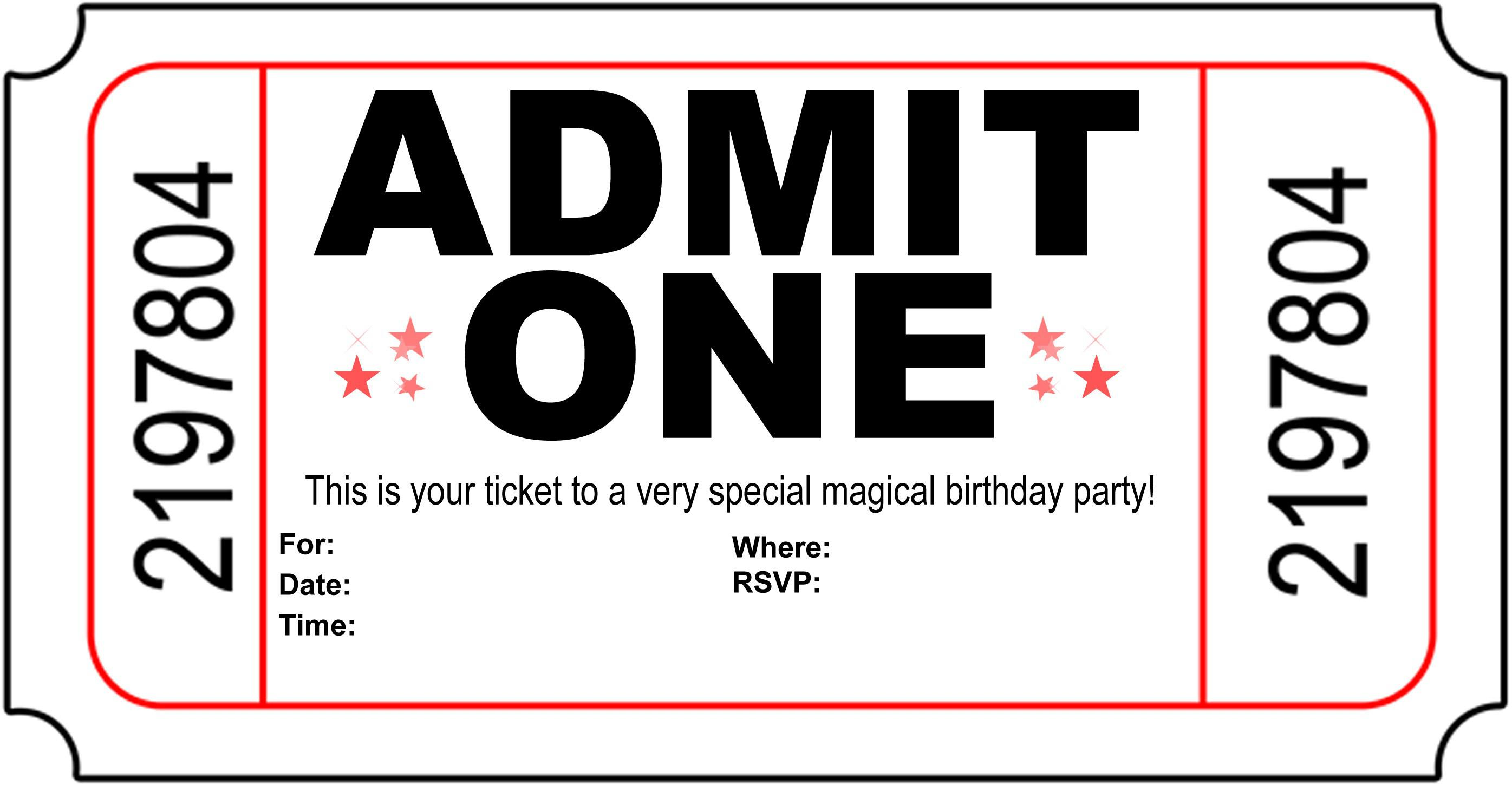 teenage birthday invitation templates ; Admit-One-Teen-Birthday-Invites-Templates