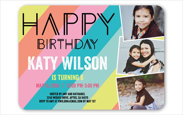 teenage birthday invitation templates ; Modern-teen-birthday-invitation-with-photographs