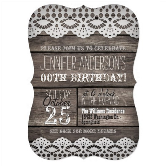 teenage birthday invitation templates ; White-Lace-Rustic-Brown-Adult-Teen-Birthday-Invitation