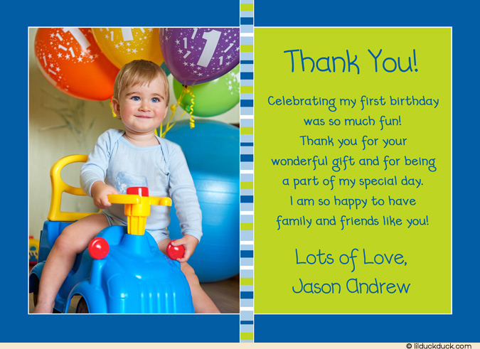thank you message for attending 1st birthday ; photo-thank-you-boy-blue-lime-green-stripe