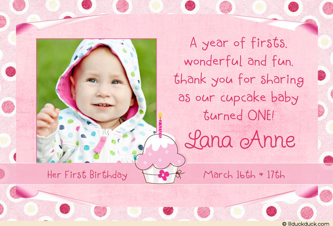thank you message for attending 1st birthday ; polka-dot-cupcake-photo-thank-you-card-all-pink