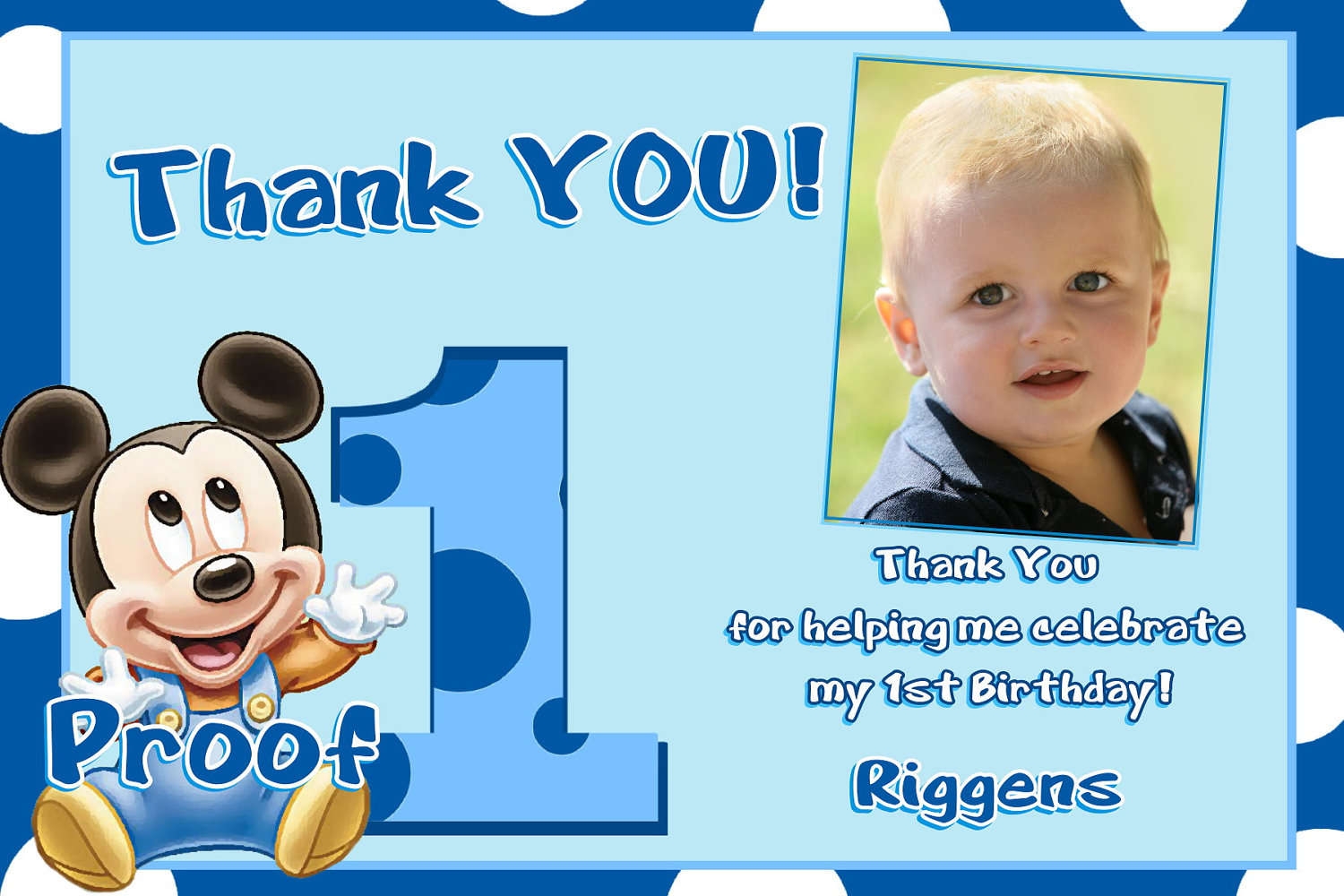 thank you message for attending 1st birthday ; shocking-blue-1st-birthday-thank-you-cards-celebrate-awesome-ideas-riggens-name-cute-little-baby-adorable-proof-mickey-mouse