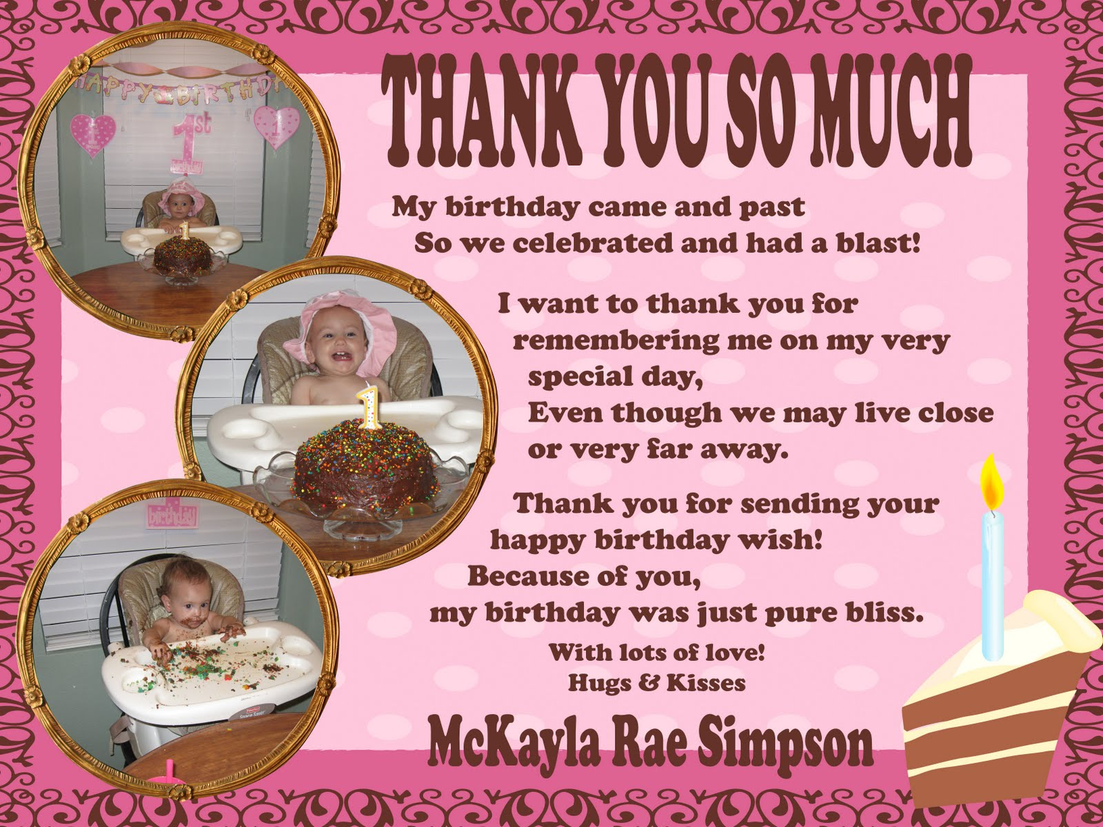 thank you message to friends for surprise birthday party ; 1st+birthday+thanks