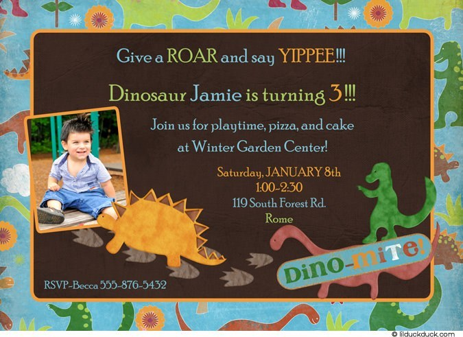 third birthday invitation wording boy ; Dino-mite-birthday-invitation-boy-