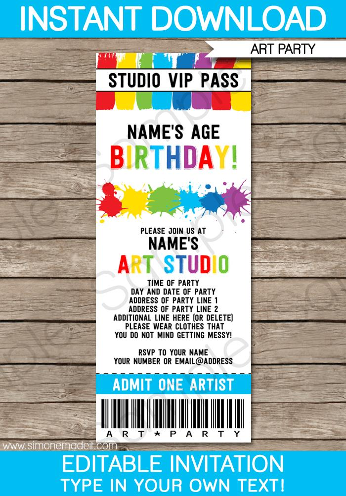 ticket birthday invitation template ; ART-PARTY-Ticket-Invitations