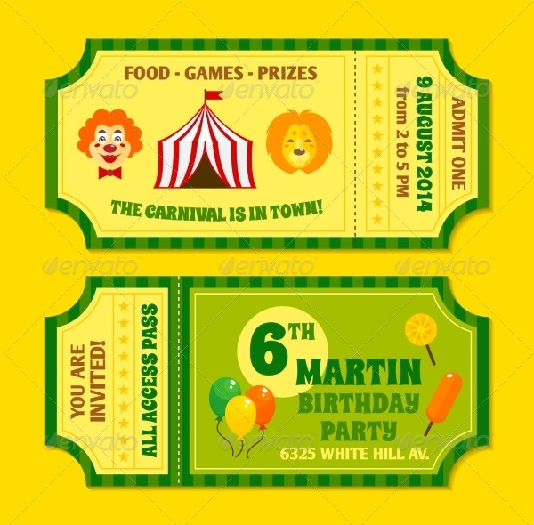 ticket birthday invitation template ; Circus-Tickets-Invitation-Template