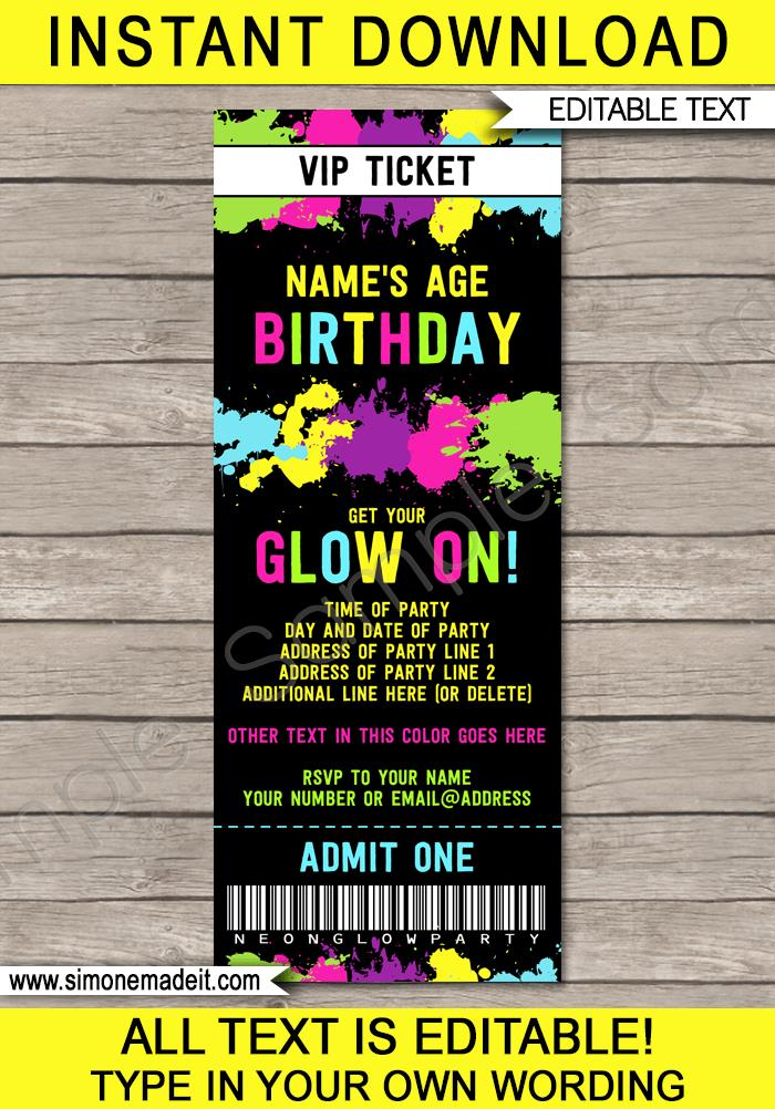 ticket birthday invitation template ; Glow-Party-Ticket-Invitations-editable-and-printable-template