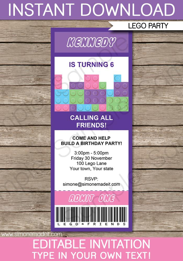 ticket birthday invitation template ; Lego-Friends-Party-Ticket-Invitations