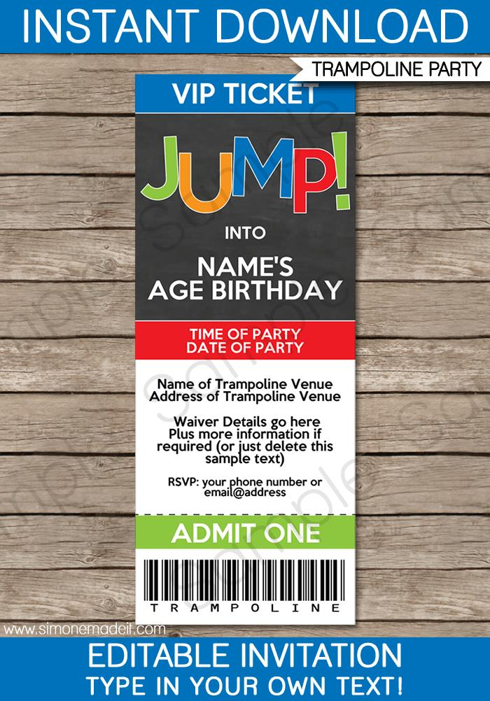 ticket birthday invitation template ; Trampoline-Party-Invitations