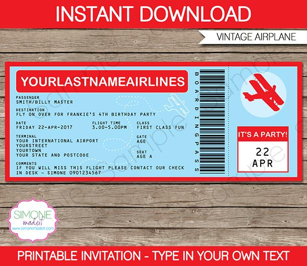 ticket birthday invitation template ; airplane-boarding-pass-invitations-template-birthday-party-airplane-ticket-birthday-invitation