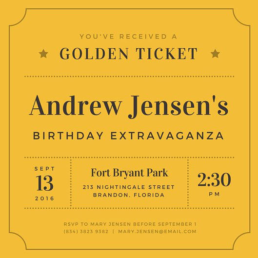 ticket birthday invitation template ; canva-golden-ticket-birthday-invitation-MABxFtEm3h0