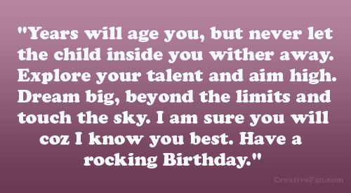 touching birthday message ; age-you