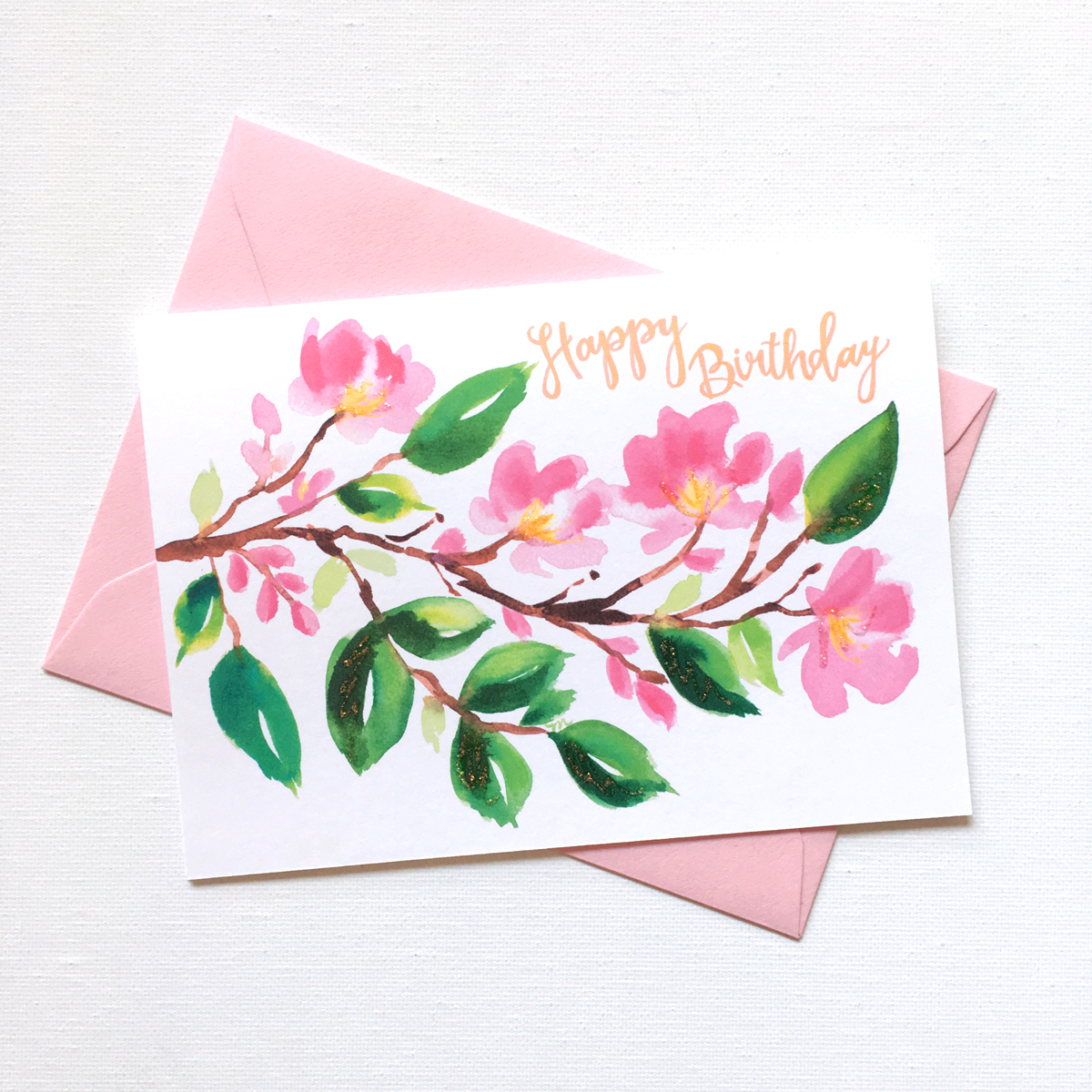 watercolor birthday card ; floral-Birthday-card-with-cherry-blossoms