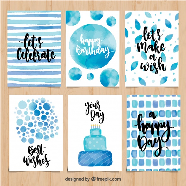 watercolor birthday card ; set-of-watercolor-birthday-cards-in-blue-tones_23-2147648180