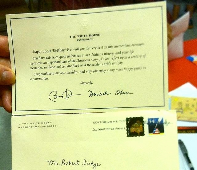 white house 100th birthday card ; birthday-card-from-president-lovely-robert-fudge-receives-birthday-card-from-president-first-lady-on-of-birthday-card-from-president