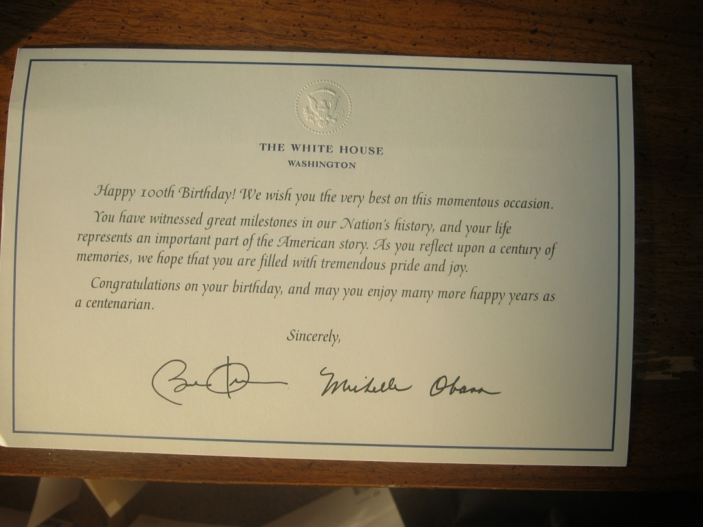 white house 100th birthday card ; birthday-card-from-the-president-gangcraft