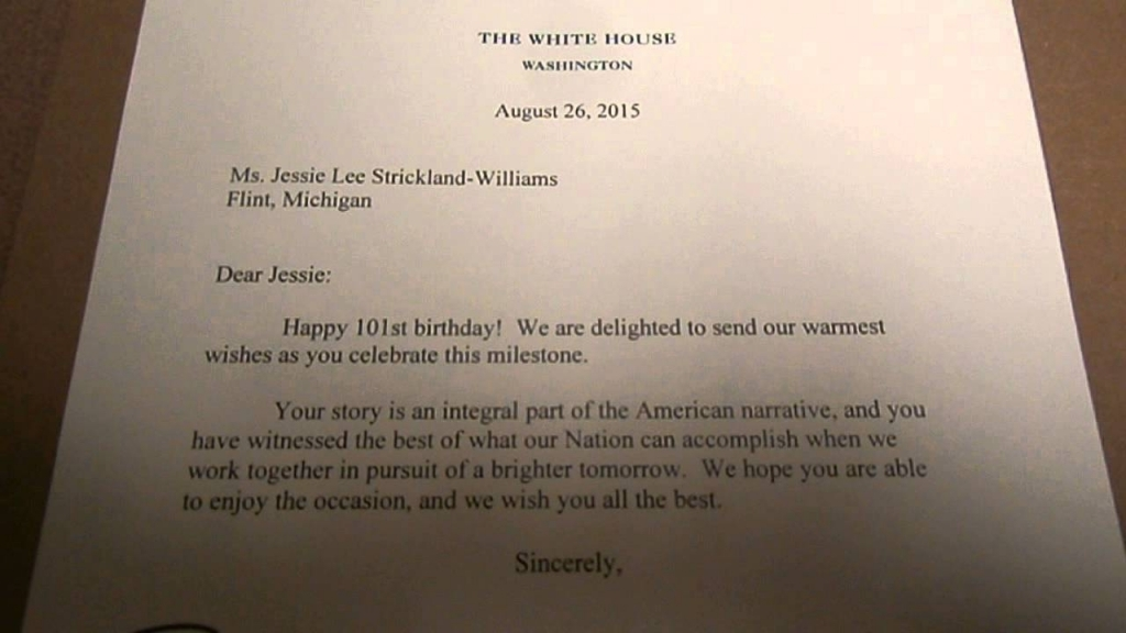 white house 100th birthday card ; grandma-williams-101st-birthday-card-from-president-obama-and-1st-1