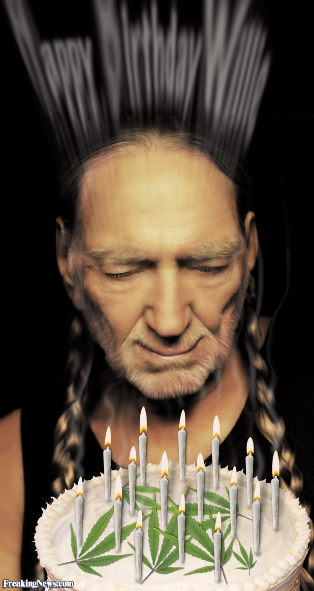 willie nelson birthday card ; Willie-Nelson-and-His-Birthday-Cake--108417
