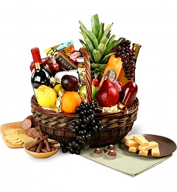 wine basket birthday gift ; 826d_Executive-Wine-Fruit-Gourmet