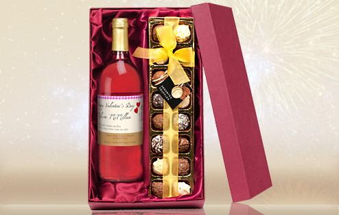 wine birthday present ; personalised-rose-wine-and-chocolate-gift-set