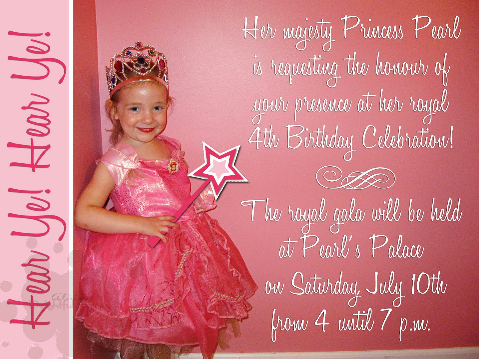 Wording For 4th Birthday Invitation Girl