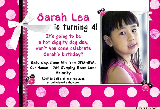 Wording For 4th Birthday Invitation Girl Polka Dot Minnie Pink