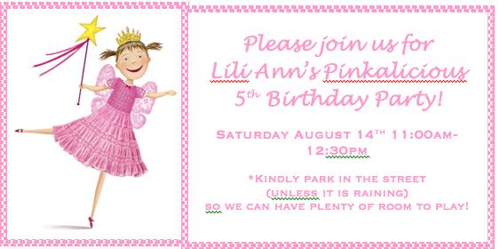 wording for a 5 year old birthday party invitation ; Pinkalicious-Invite