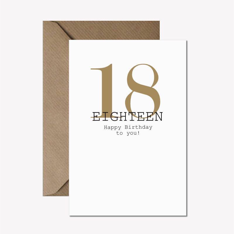 words for 18th birthday card ; 18th-birthday-card-happy-18th-birthday-gold-and-black-birthday-card-modern-typography-age-birthday-card-recycled-birthday-card-18-today-586d682c2