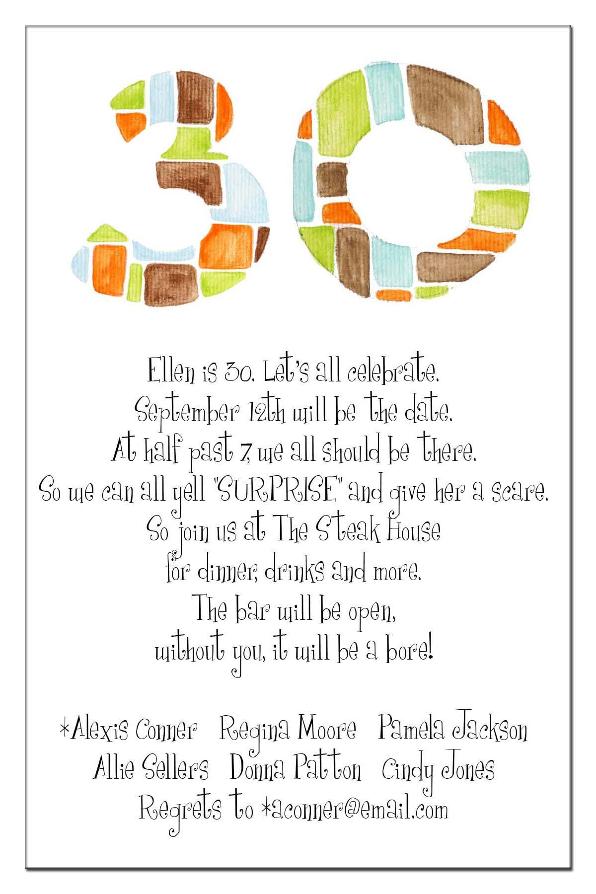 words for a 30th birthday card ; 30th-birthday-invite-wording
