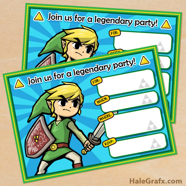 zelda birthday card printable ; legend-of-zelda-invitations