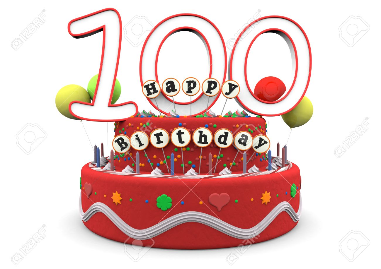 100th birthday clipart ; 25558764-A-birthday-cream-pie-with-balloons-big-age-number-100-and-the-lettering-Happy-Birthday-on-small-stic-Stock-Photo