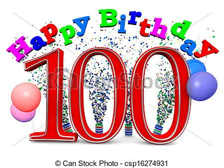 100th birthday clipart ; can-stock-photo_csp16274931