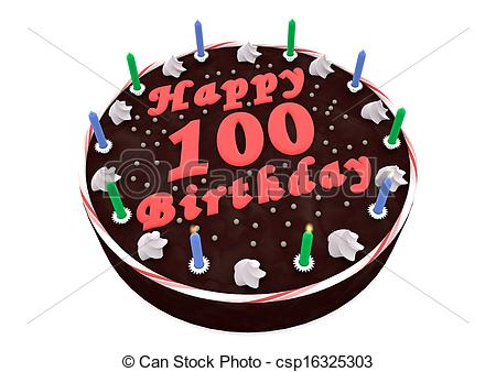 100th birthday clipart ; chocolate-cake-for-100th-birthday-drawing_csp16325303