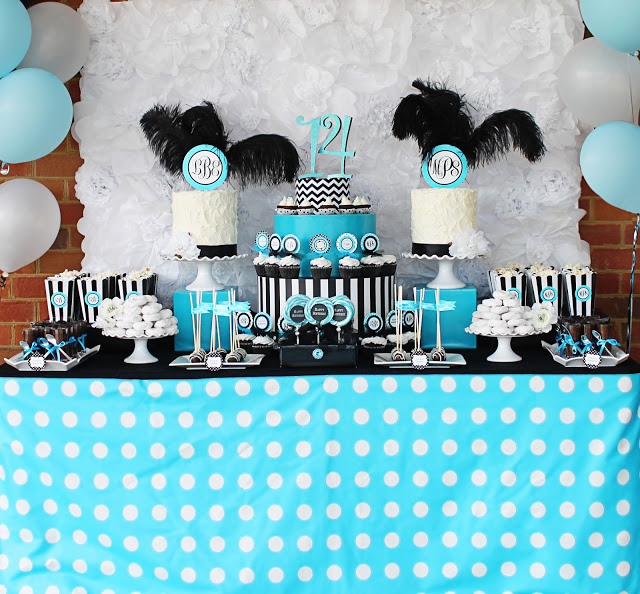 14th birthday party ideas ; monogram+party37