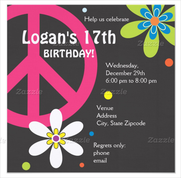 17th birthday invitation templates ; Peace-Sign-teenage-Birthday-Invitation