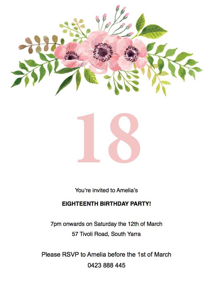 17th birthday invitation templates ; floral-birthday-invitation-Template