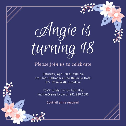 18th birthday card template ; canva-purple-and-pink-flowers-18th-birthday-invitation-MACBY-CYHYY
