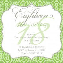 18th birthday invitation wording ; bithday_crest_16_square_w_magnet_in_lime_261426