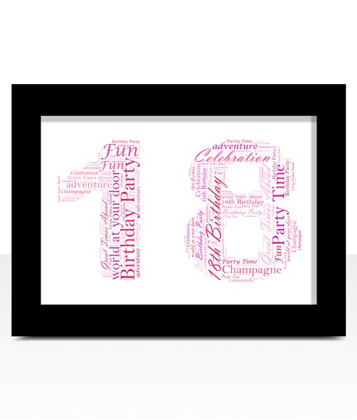 18th birthday photo frame ; 18th-birthday-print-pinks-word-art-black-frame
