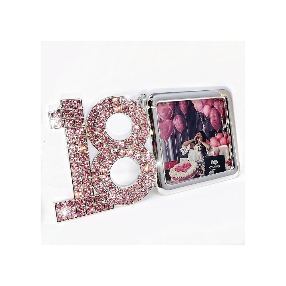 18th birthday photo frame ; lemonade-pink-swarovski-crystal-18th-birthday-photo-frame-p5556-15048_image