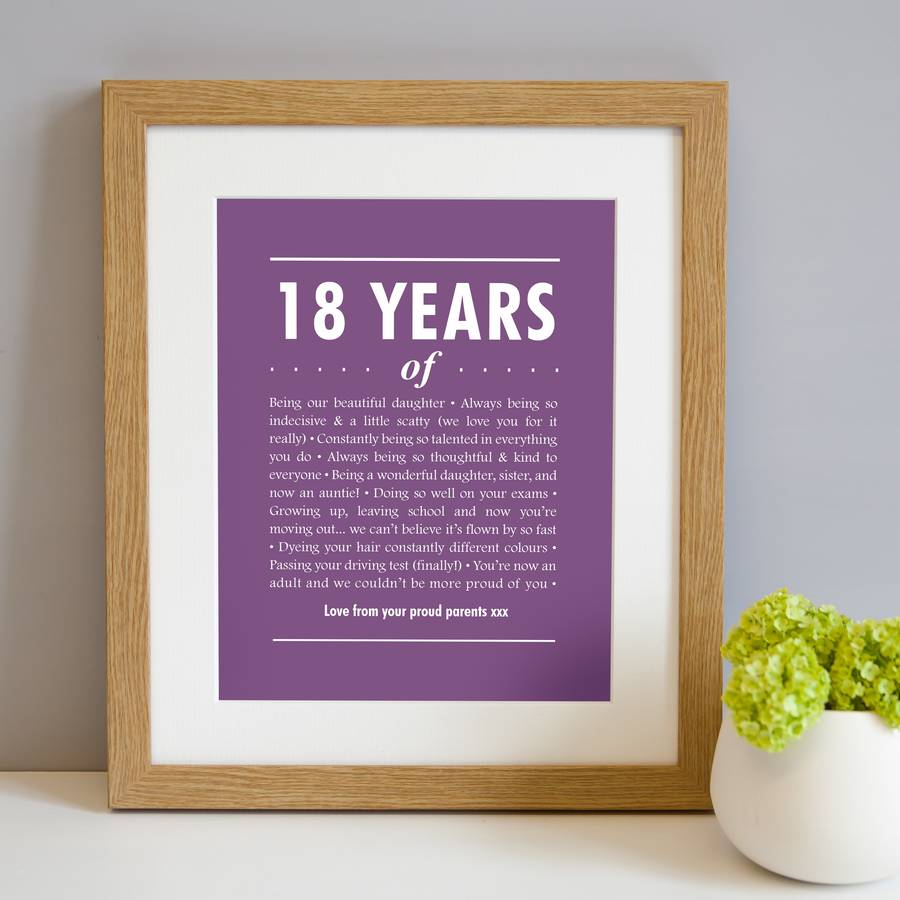 18th birthday photo frame ; original_personalised-18th-birthday-print-1