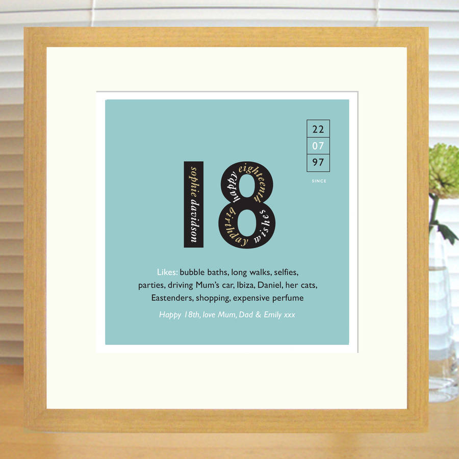 18th birthday photo frame ; original_personalised-18th-birthday-print