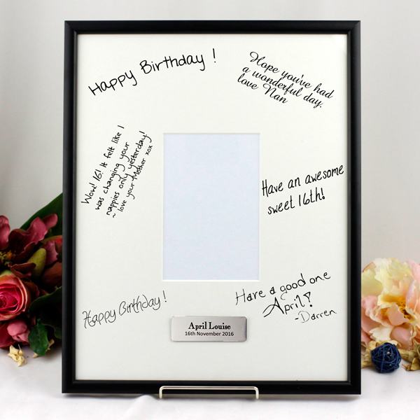 18th birthday photo frame ; personalised-plaque-mat-photo-frame-black-signature-portrait-birthday_-_copy_1