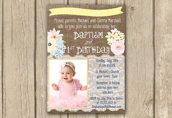1st birthday and baptism combined invitation wording ; il_570xN
