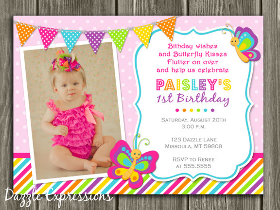 1st birthday butterfly invitation wording ; Butterfly