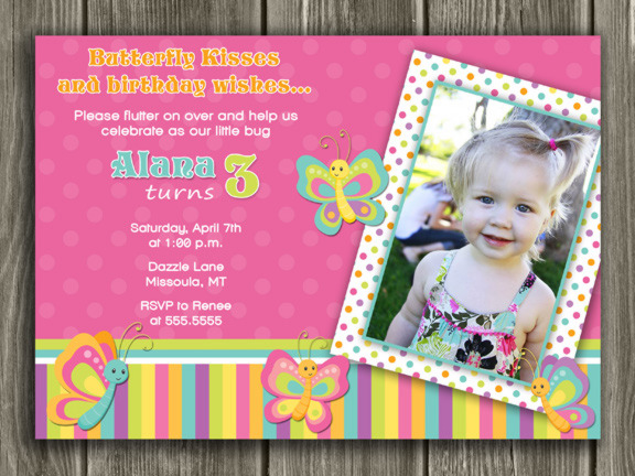 1st birthday butterfly invitation wording ; butterfly1